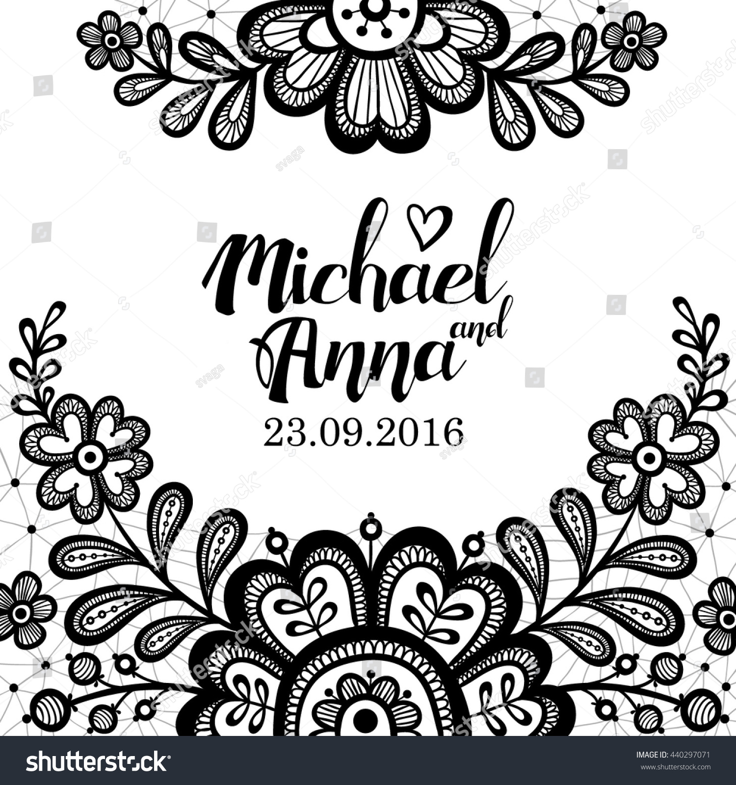 Black White Lace Greeting Card Flower Stock Vector Royalty Free