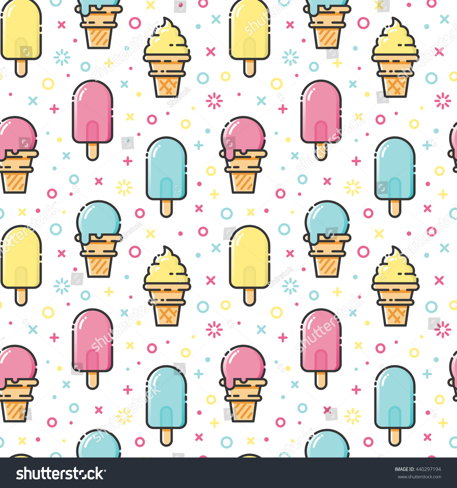 Sweet Ice Cream Flat Colorful Seamless Pattern Vector: Seamless Ice Cream Pattern Stock Vector 440297194