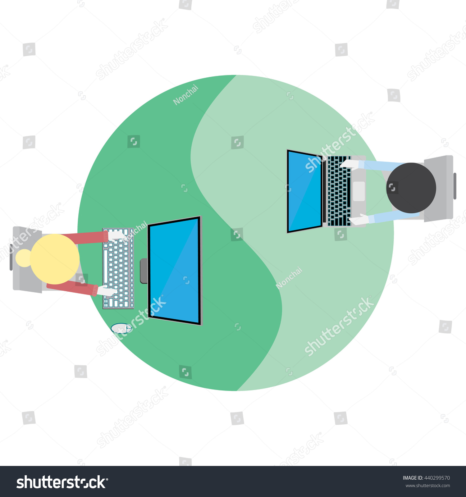 Man Woman Working Computer Yin Yang Stock Vector 440299570
