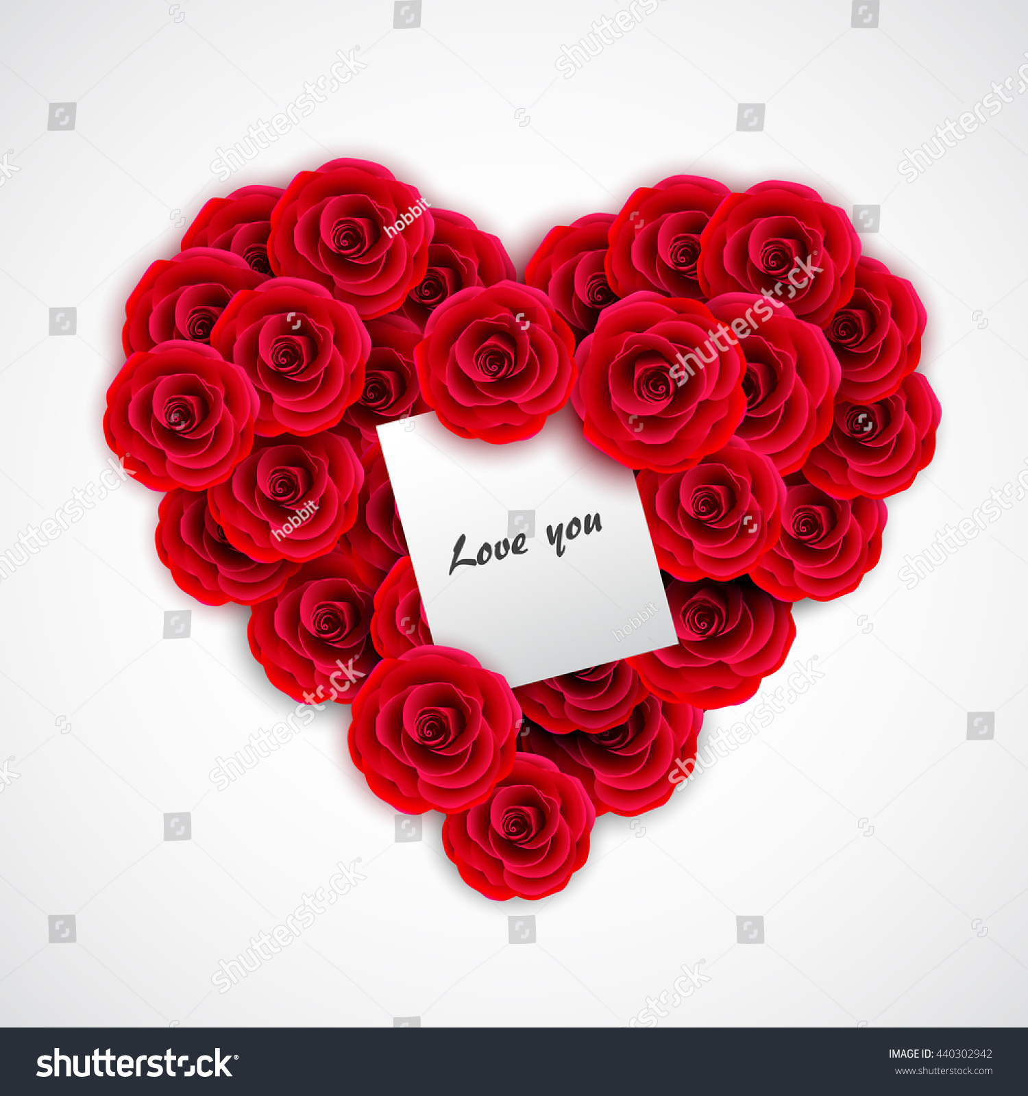 Red Roses Form Heart Rose Decoration Stock Vector 440302942 ...