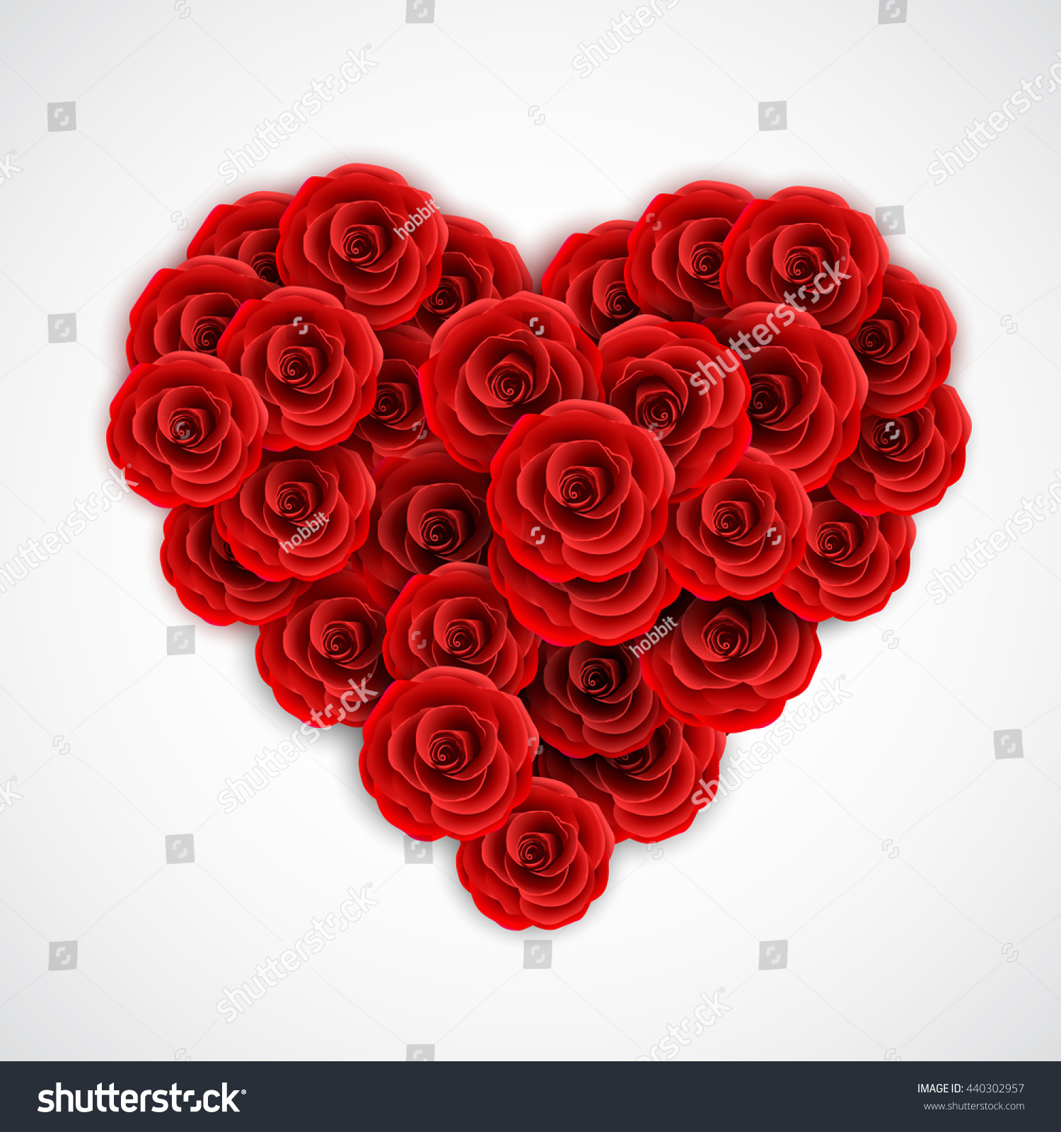 Red Roses Form Heart Rose Decoration Stock Vector (Royalty Free ...