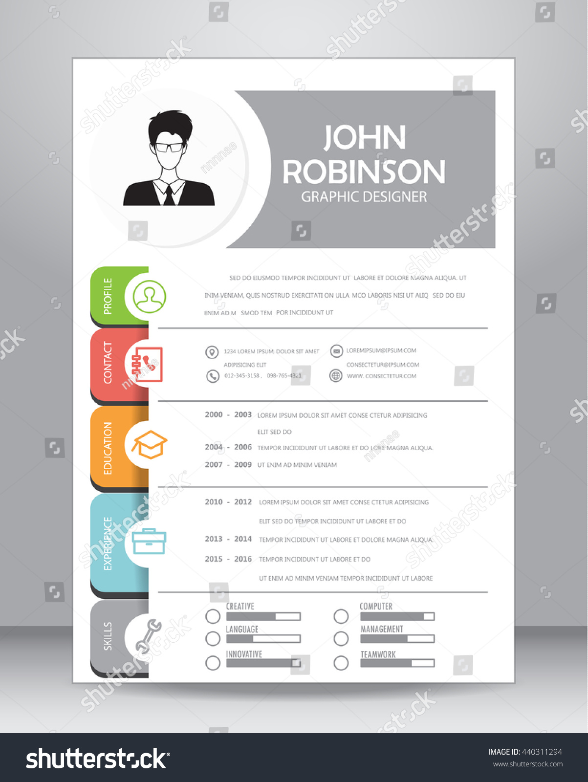 job resume cv template layout template stock vector