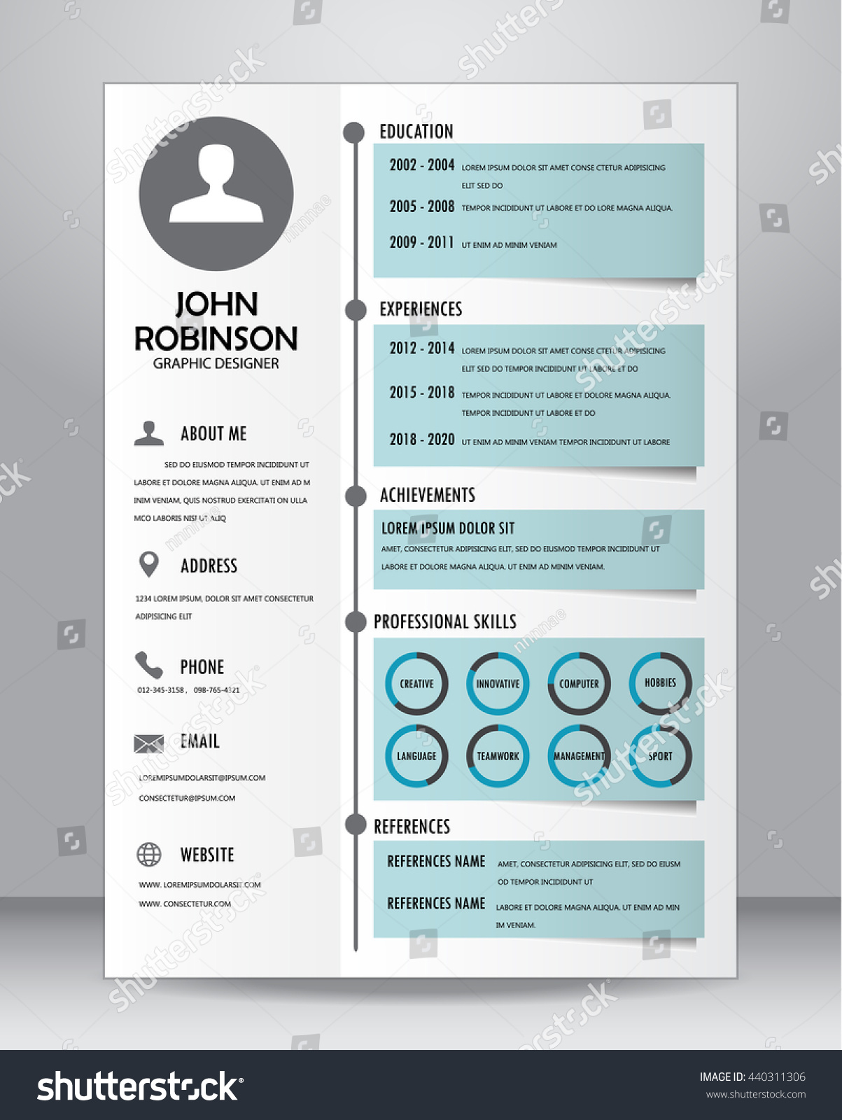 stock vector job resume or cv template layout template in a size vector illustration 440311306