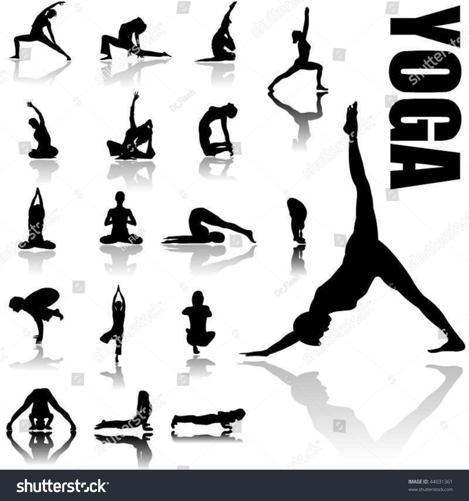 Yoga Positions Silhouettes Vector Art Stock Vector