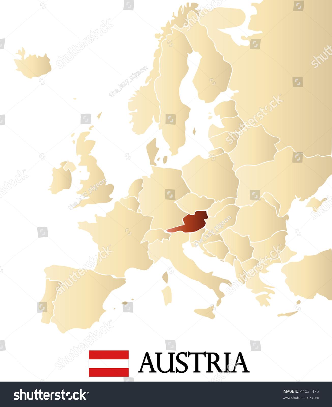 Map Europe Marked Austria Stock Illustration 44031475 Shutterstock