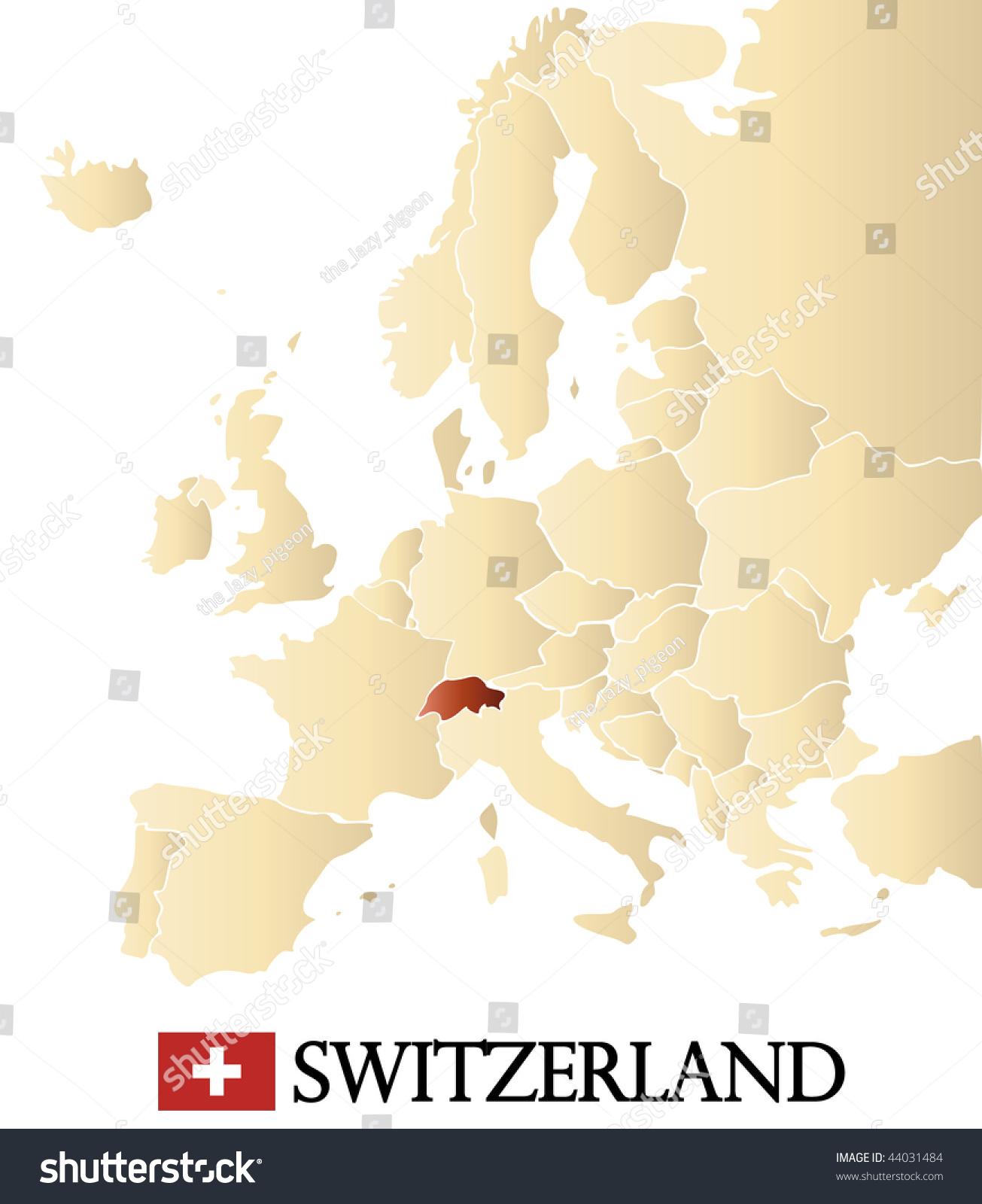 Royalty Free Stock Illustration Of Map Europe Marked Switzerland