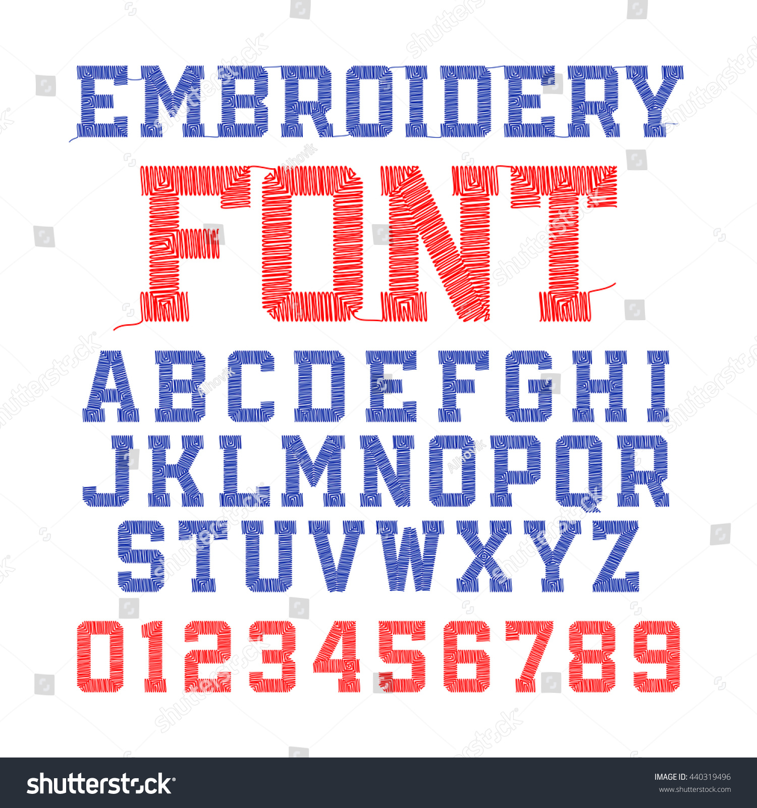 Embroidery font letters numbers vector illustration stock