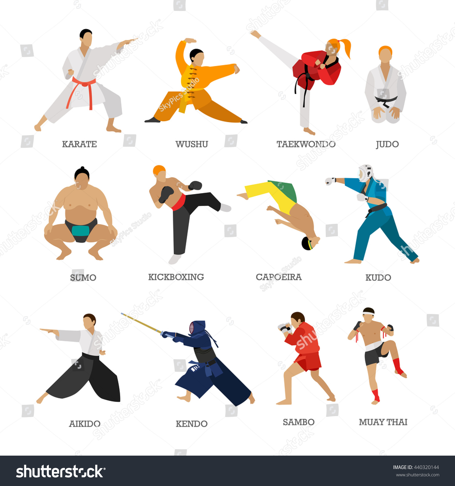 vector set martial arts people silhouette stock vector 440320144 shutterstock. Black Bedroom Furniture Sets. Home Design Ideas