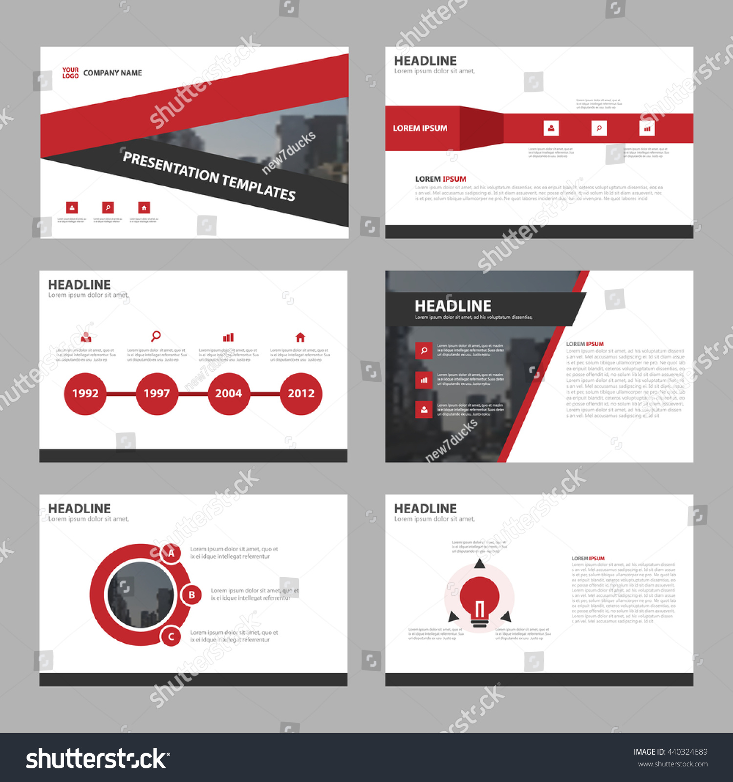 Red Triangle Abstract Presentation Templates Infographic Stock ...