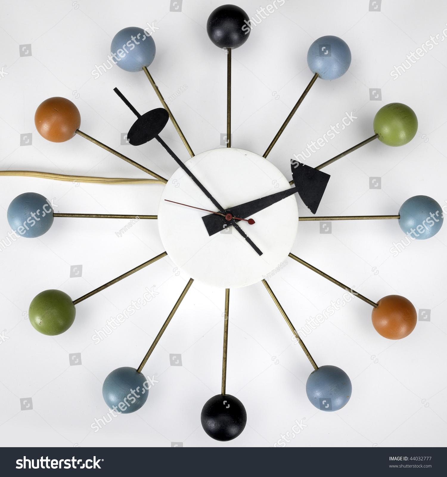 retro vintage kitchen wall clock multicolored stock photo 44032777