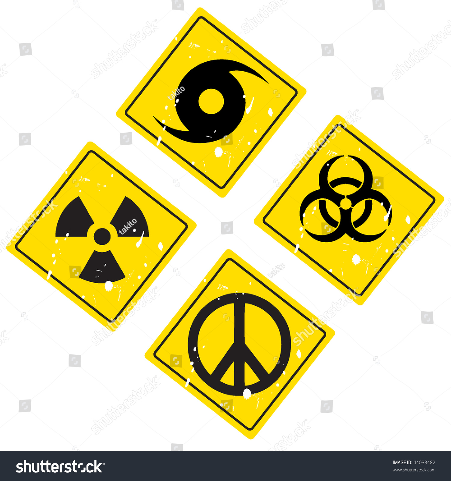 Hurricane Warning Sign Pacific Sign Radiation Stock Vector Royalty