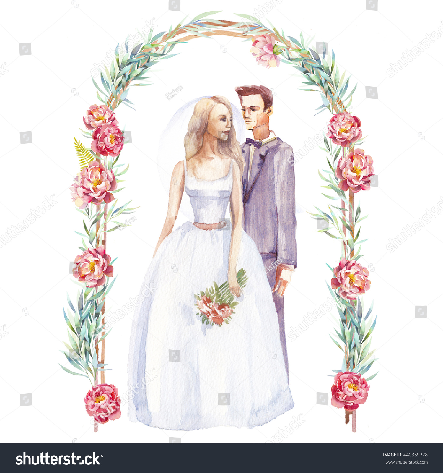 Just Married Couple Watercolor Illustration Bride Stock ...