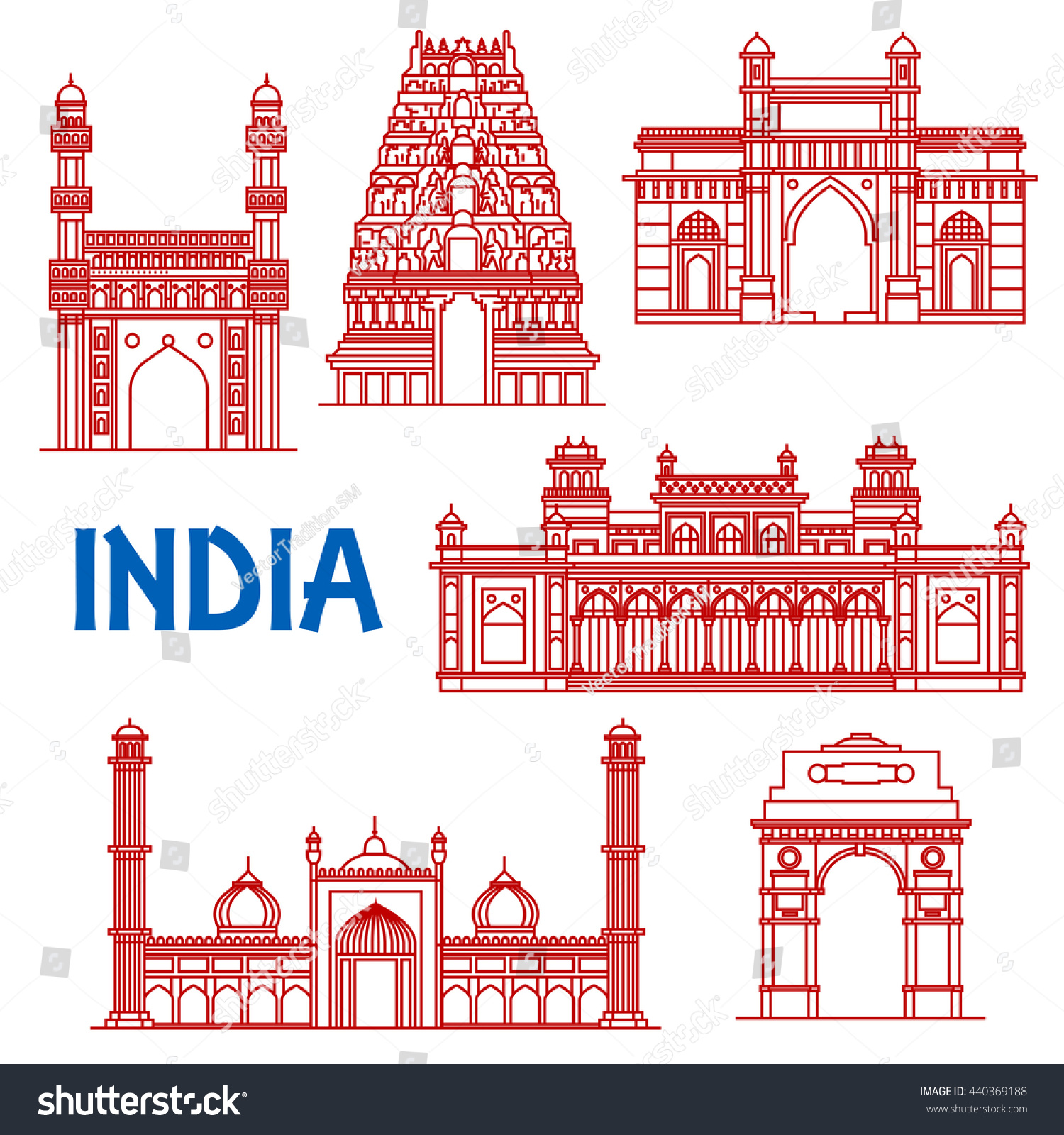 Popular Indian Architecture Landmarks Icon With Red Thin