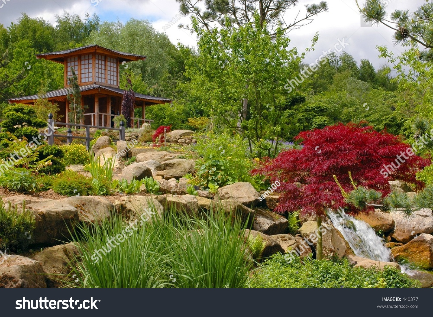 A chinese japanese garden with pagoda tea house stock for Japanese meditation garden design