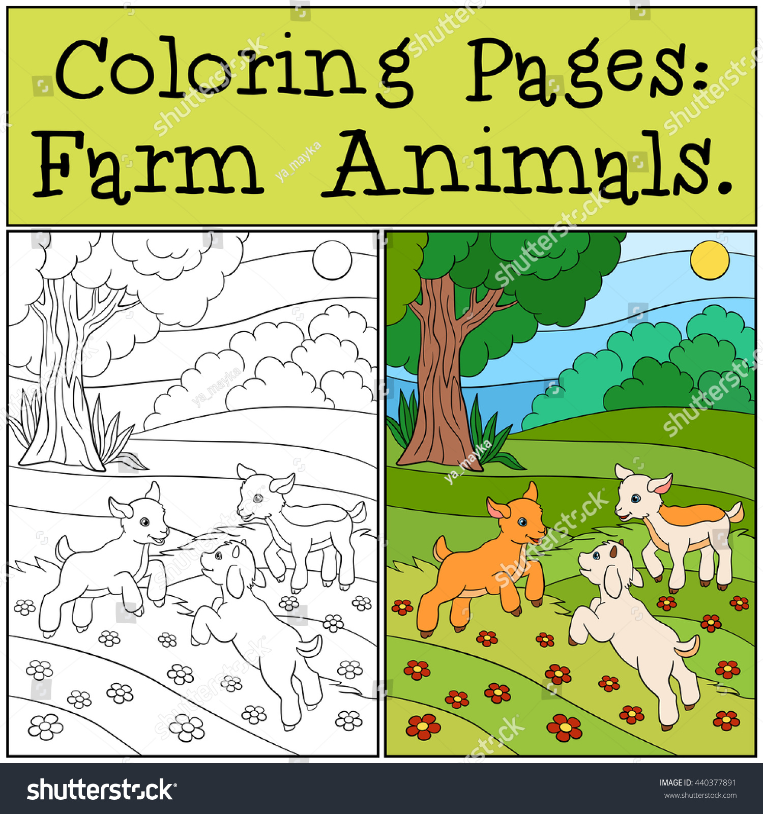 Coloring Pages Farm Animals Three Little Stock Vector 440377891 ...