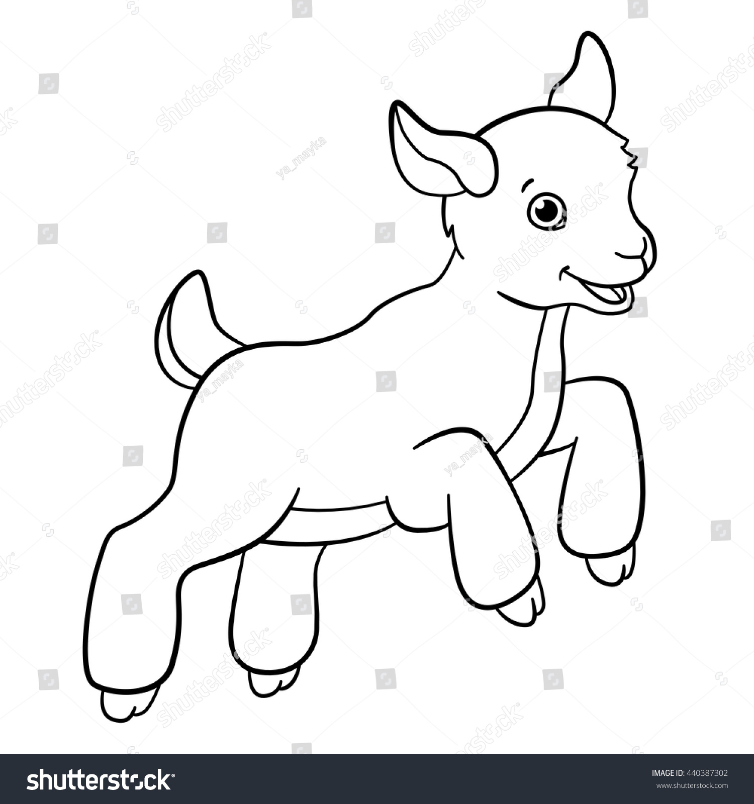 Coloring Pages Farm Animals Little Cute Stock Vector 440387302 ...