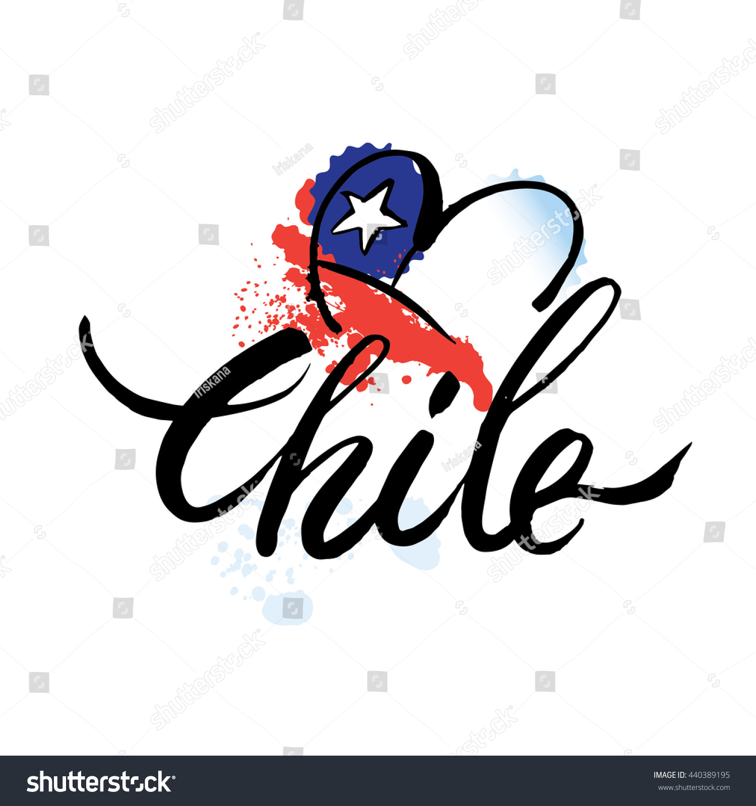 Vector logo chile national state flag stock vector 440389195 vector logo chile national state flag symbol republic of chilehand lettering and biocorpaavc Images