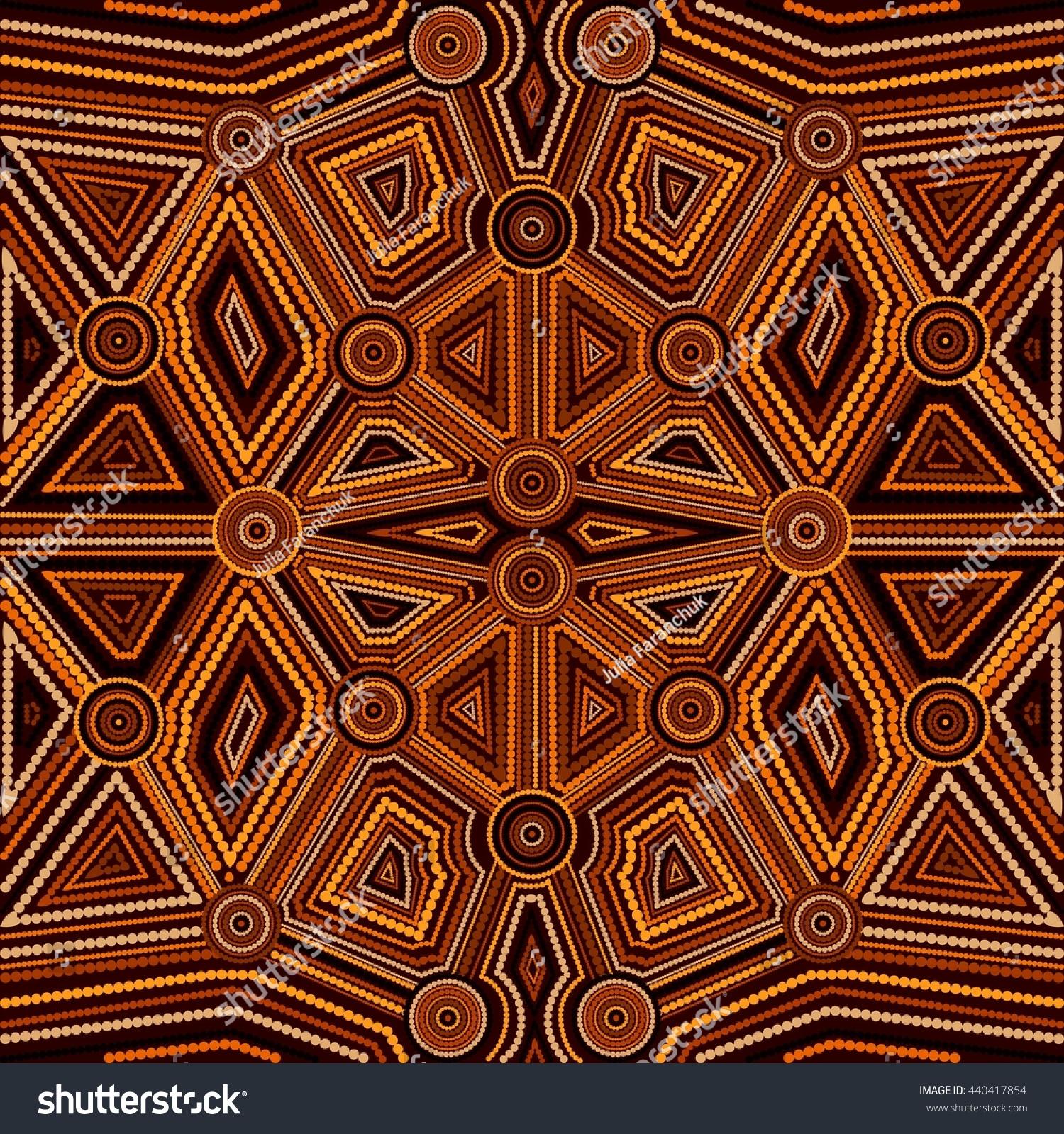 Abstract Style Australian Aboriginal Art Geometric Stock