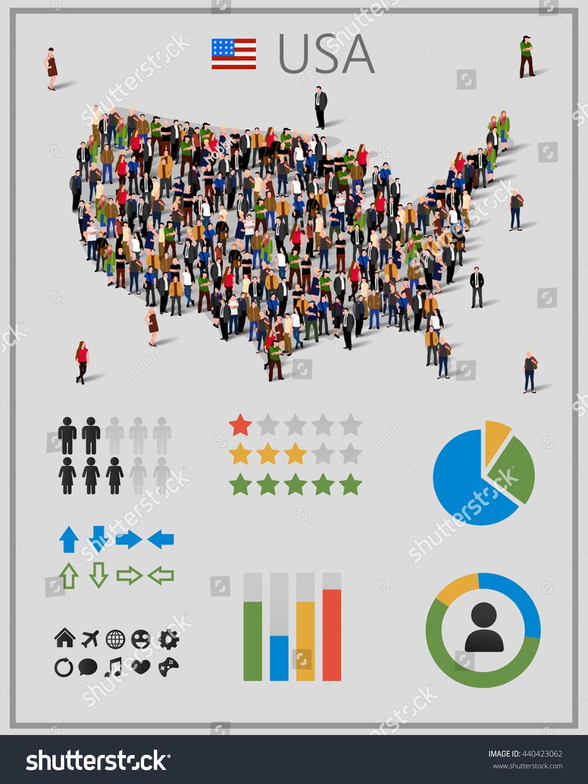 Large Group People United States America Stock Vector - Large image map of us vector