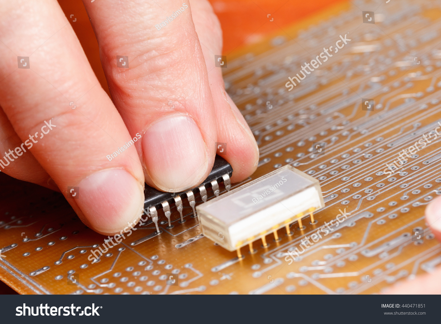 Assembly Electronic Components On Printed Circuit Stock Photo Edit Completely Assembled Board Of A