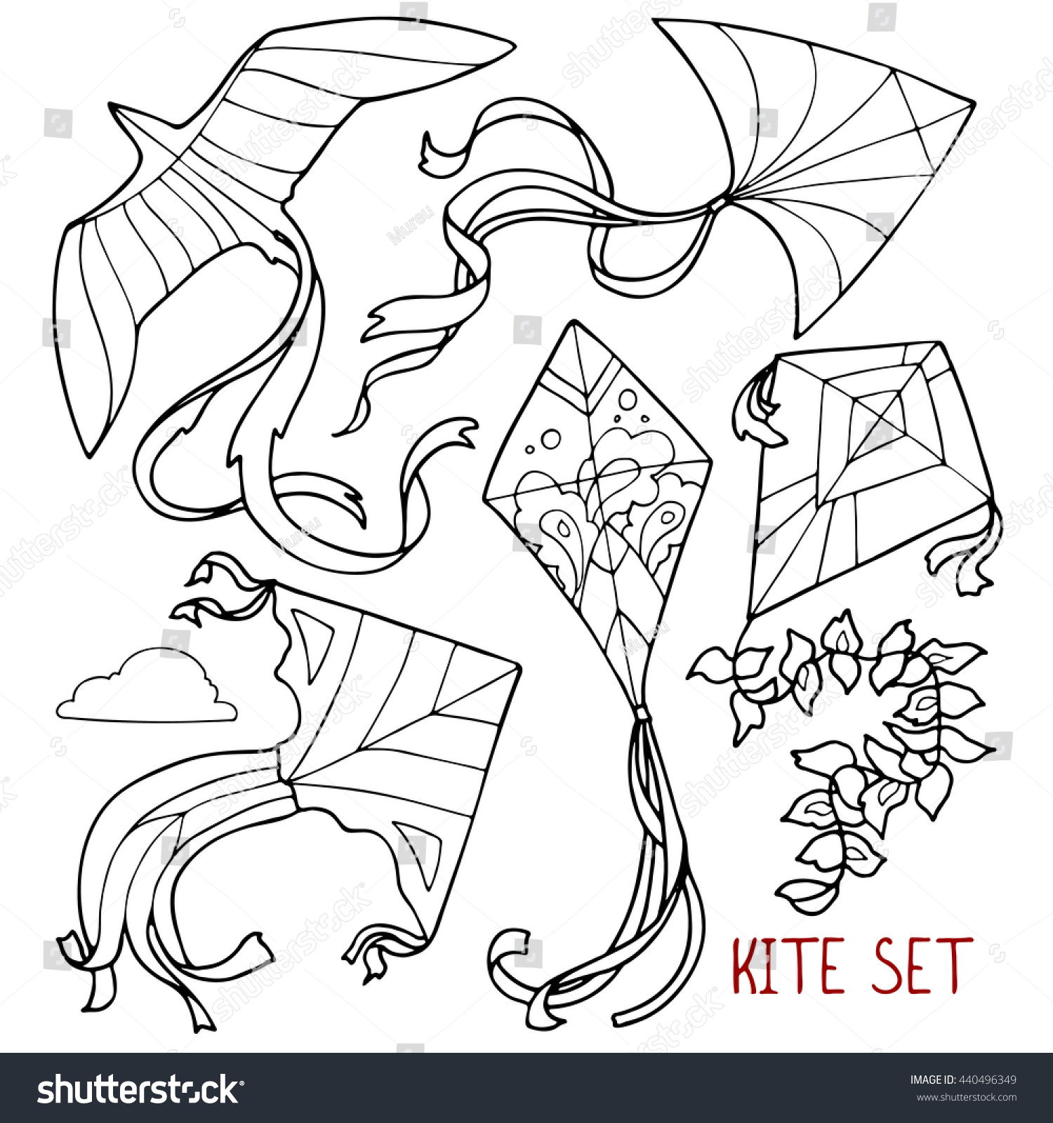 Line Drawing Kite : Kite set outline drawings hand stock vector