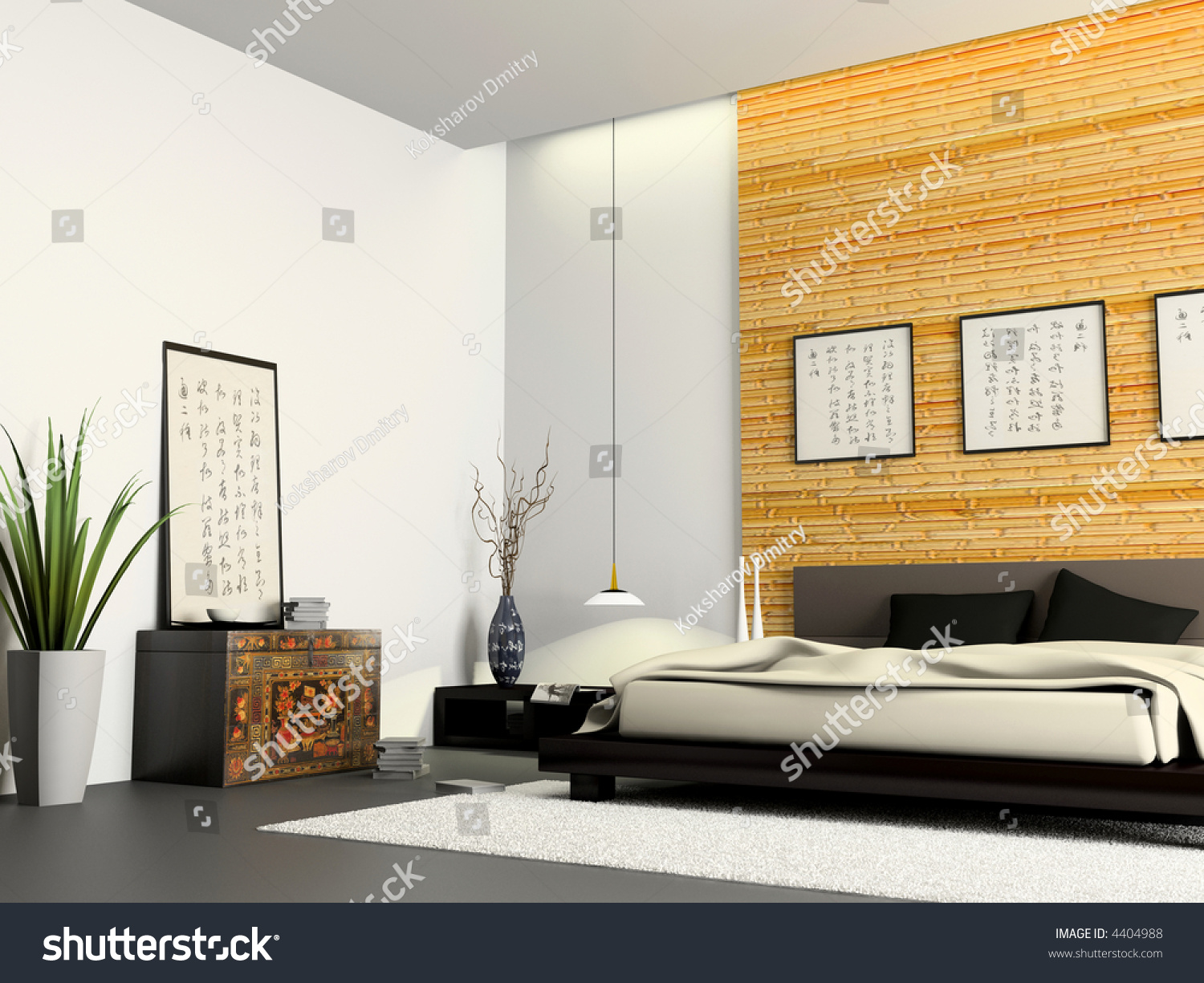 Interior Modern Bedroom Chinese Furniture 3 D Stock Illustration ...