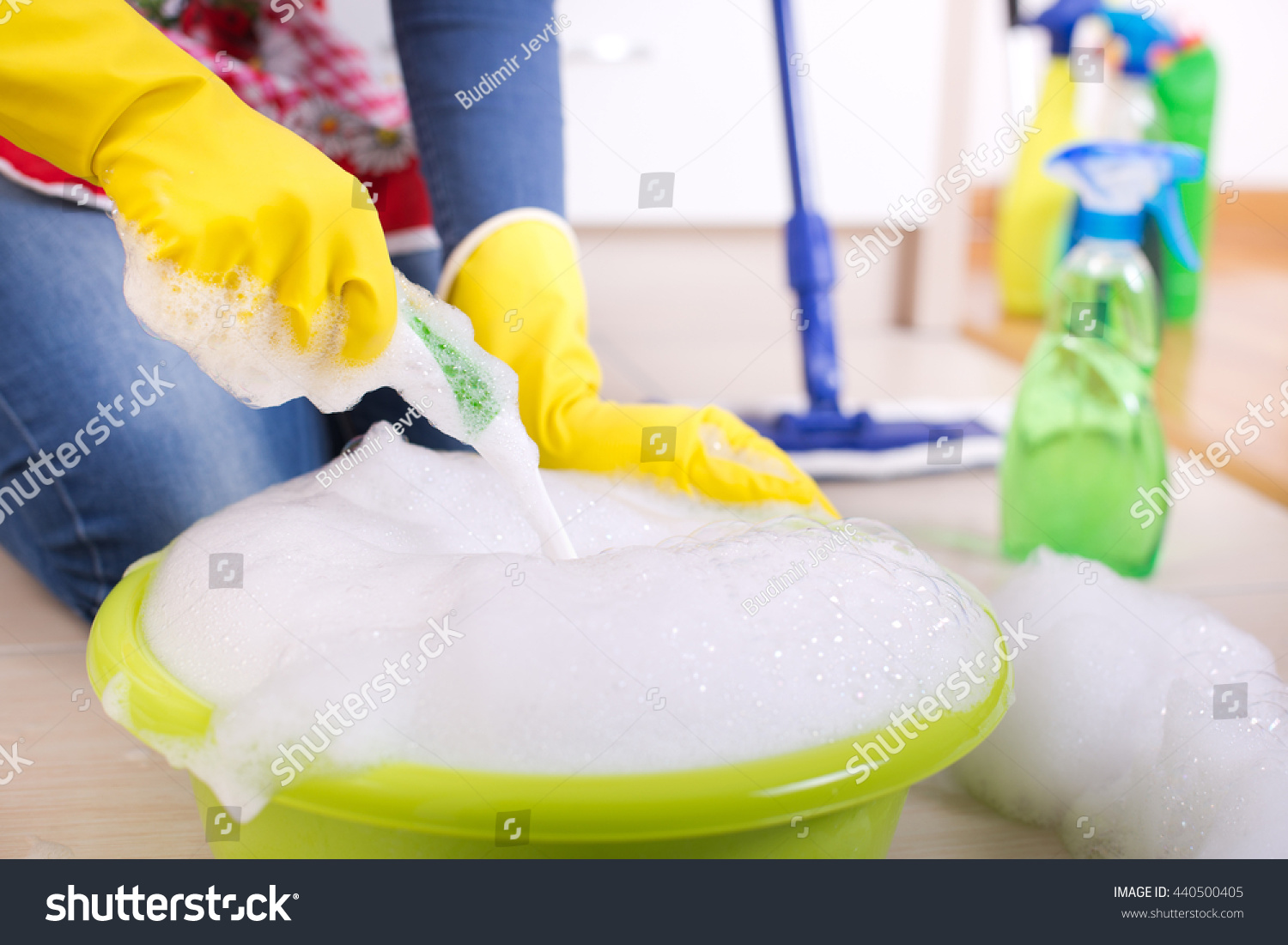 Kitchen Floor Scrubber Close Up Of Female Hands Making Soap Foam In Washbasin With