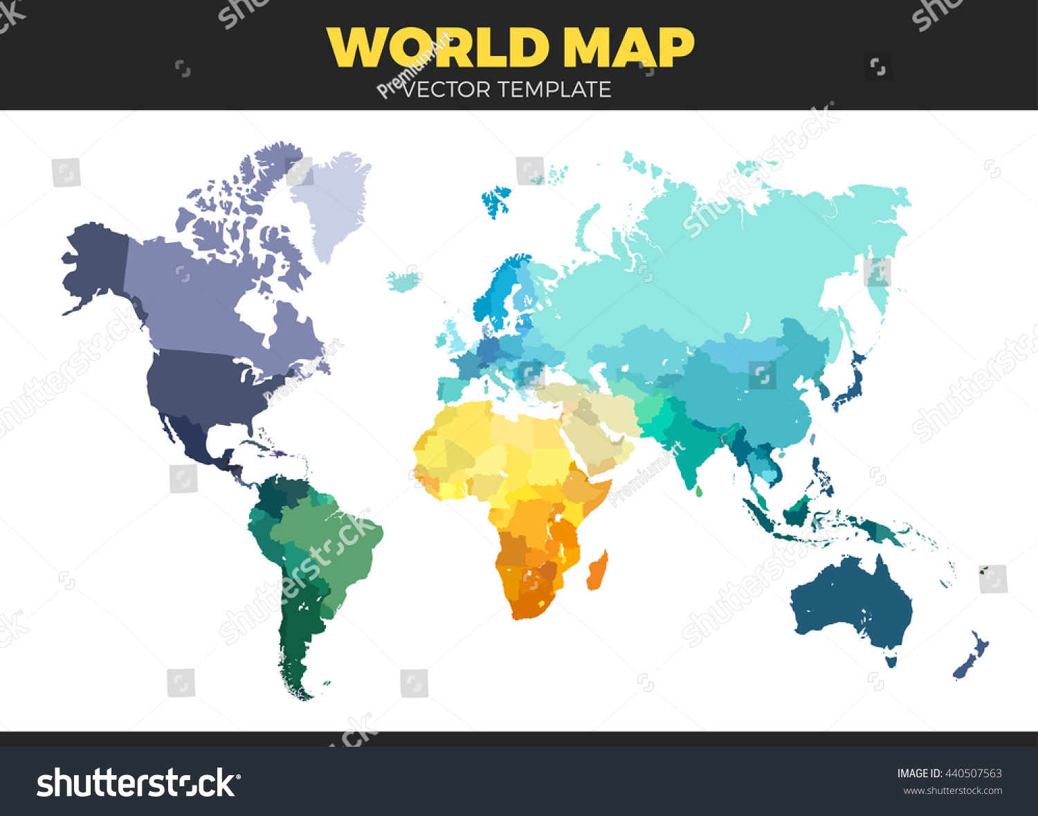 Color world map vector illustration empty vectores en stock color world map vector illustration empty template without country names text isolated on white gumiabroncs Images