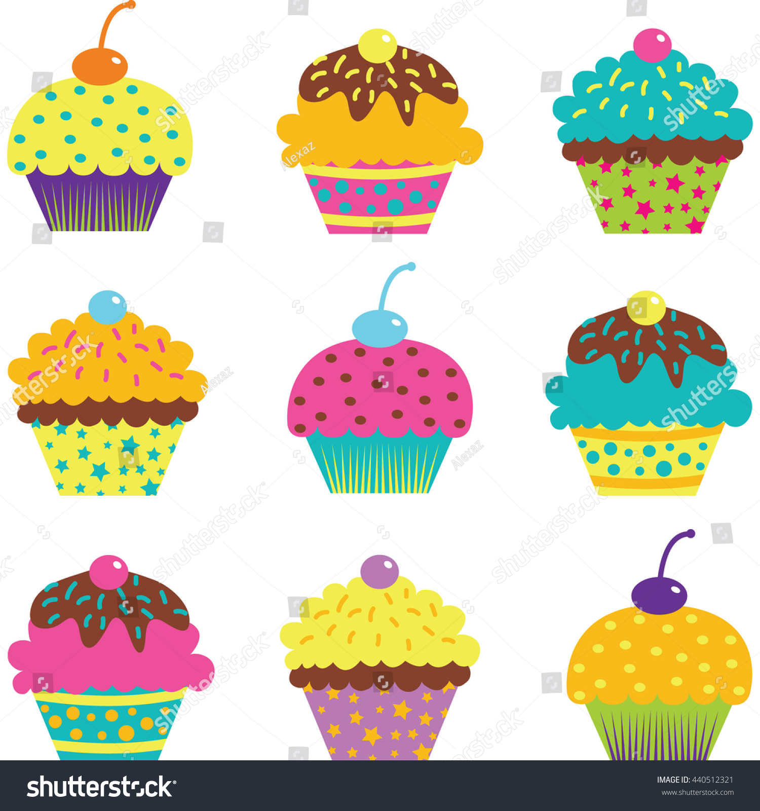 Cup Cake Setbirthdaypartyinvitation Stock Vector 440512321 ...
