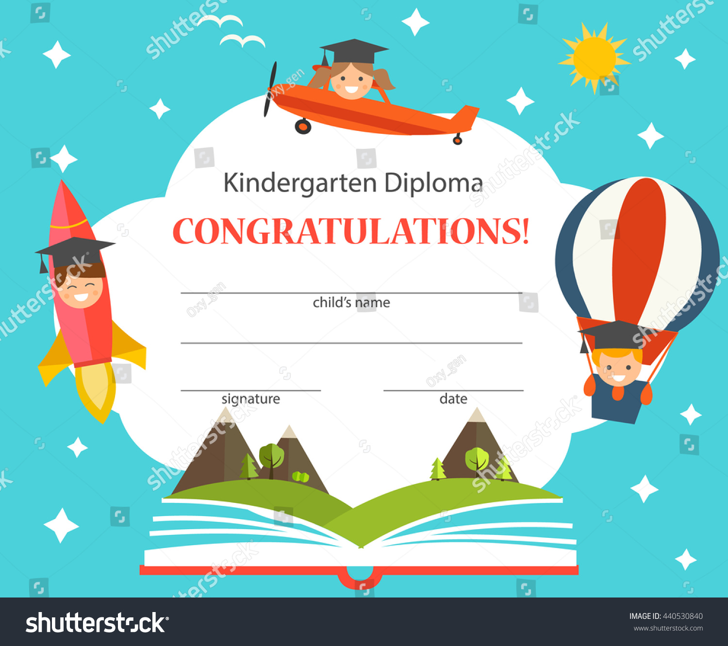 royalty free kindergarten diploma with opened book 440530840 stock