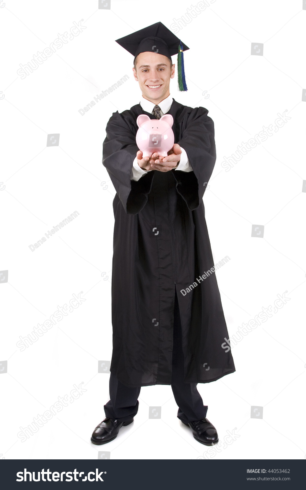 Young Graduate Cap Gown Holding Piggy Stock Photo (Edit Now ...