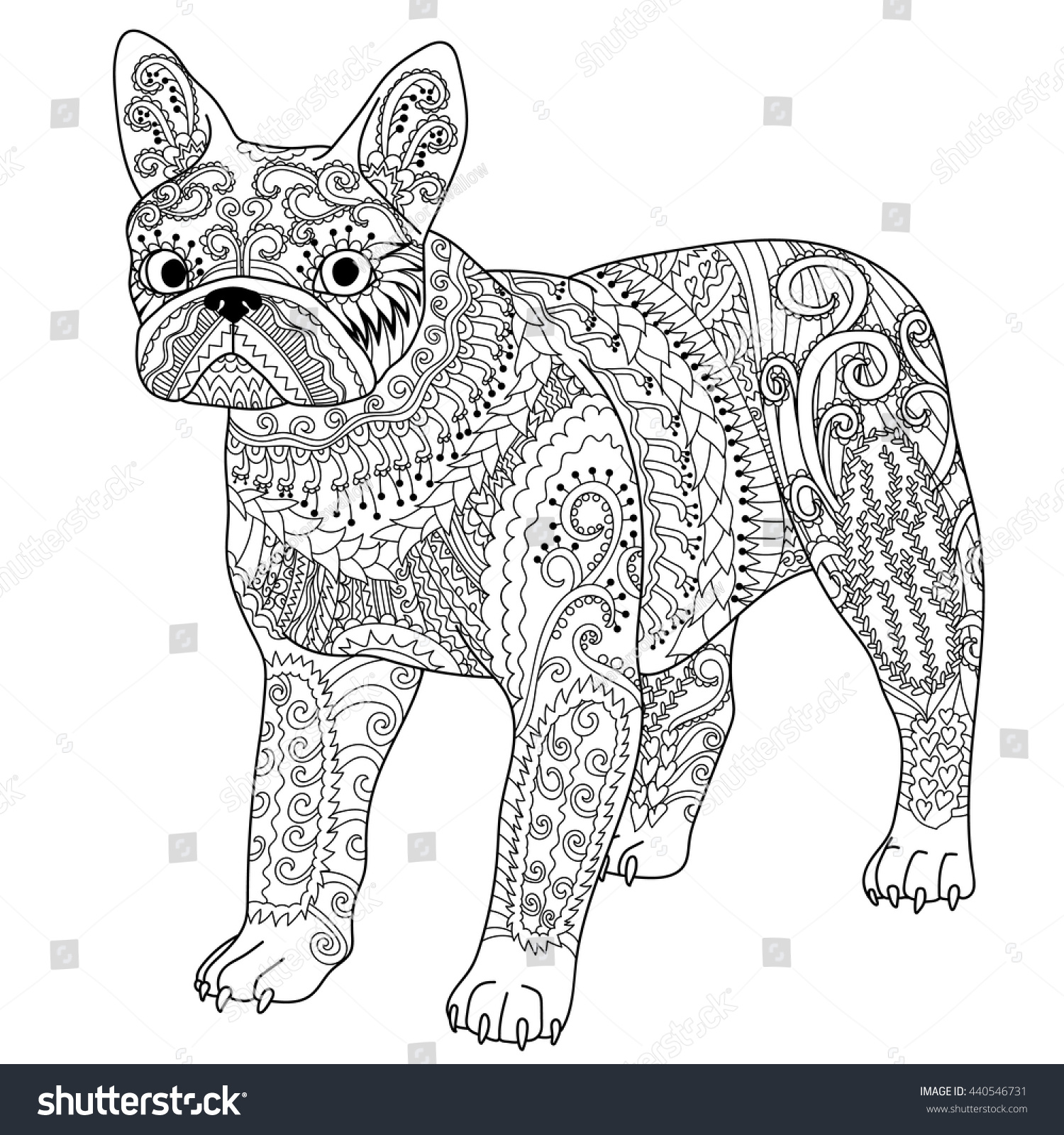 high detail patterned french bulldog zentangle stock vector