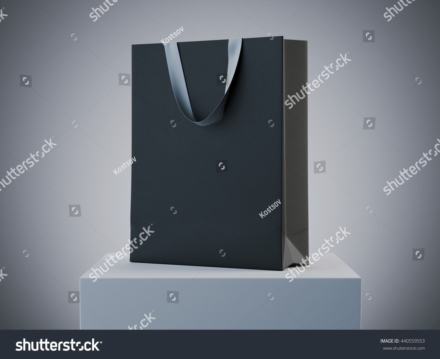 Black shopping bag on white podium in studio 3D rendering