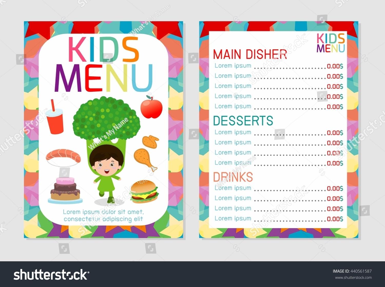 cute colorful kids meal menu design stock vector 440561587