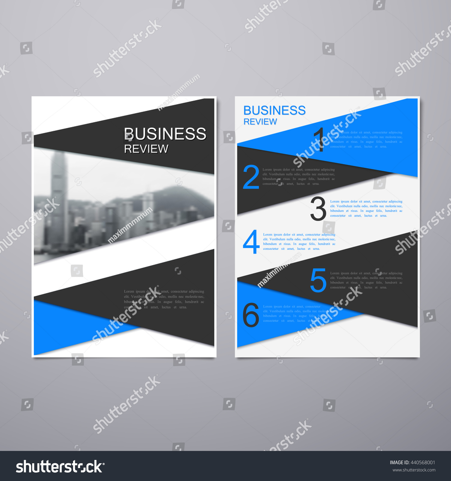 business review leaflet brochure flyer a4 stock vector 440568001, Presentation templates