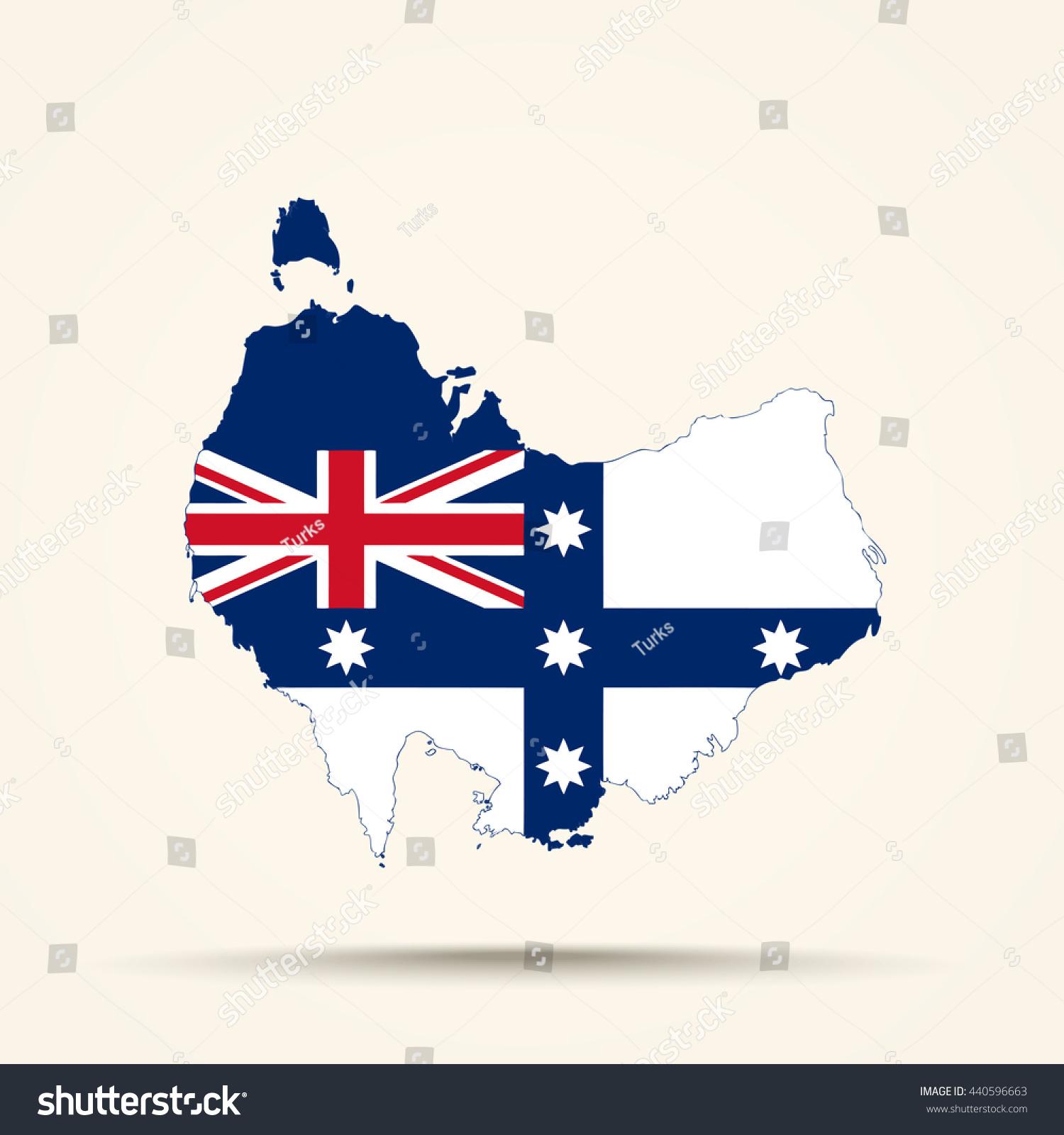 Map Of Australia Before Federation.Map Australia Australian Federation Flag Colors Stock Vector