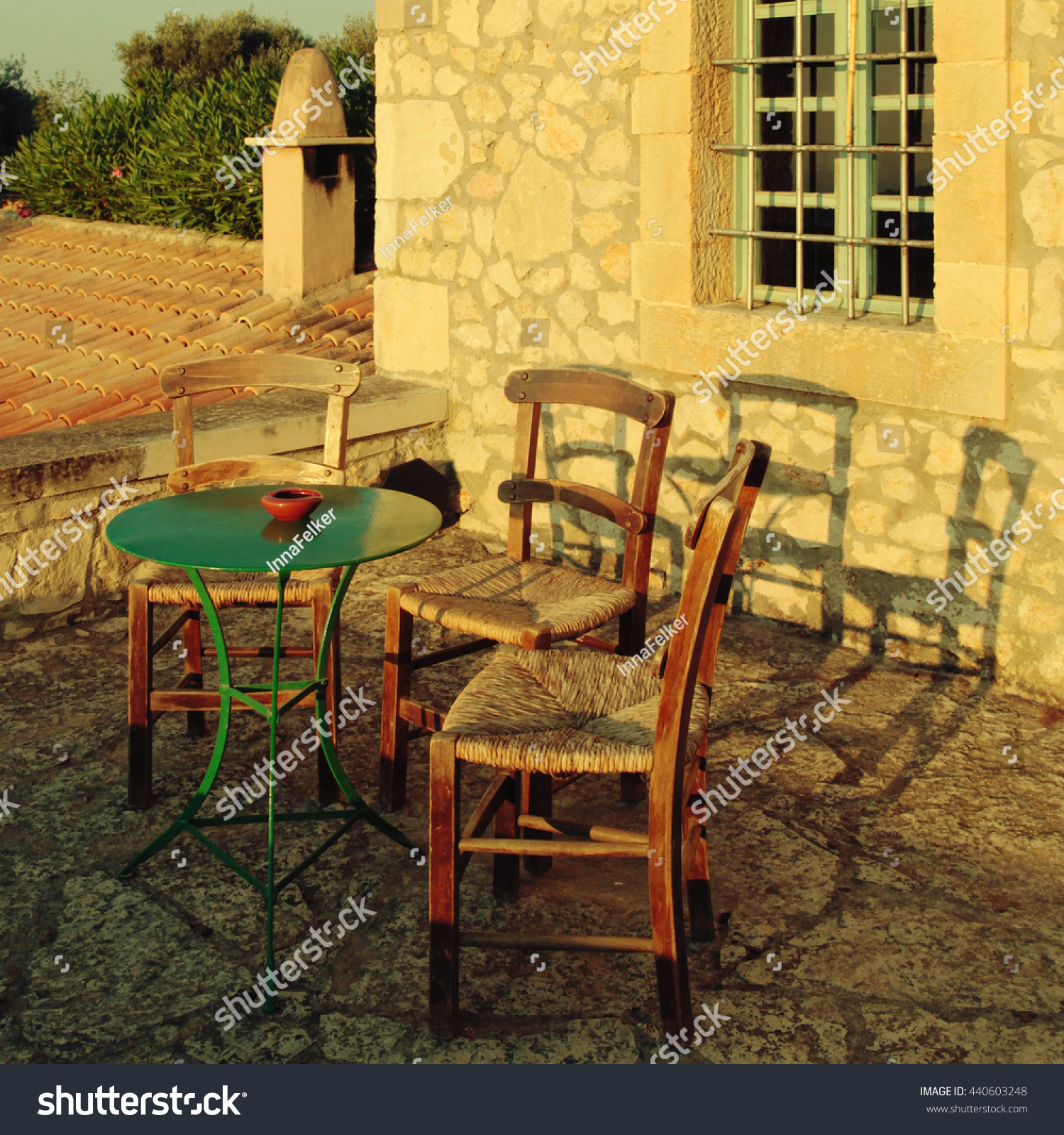 Greek Country Outdoor Restaurant On Roof Stock Photo Edit Now 440603248