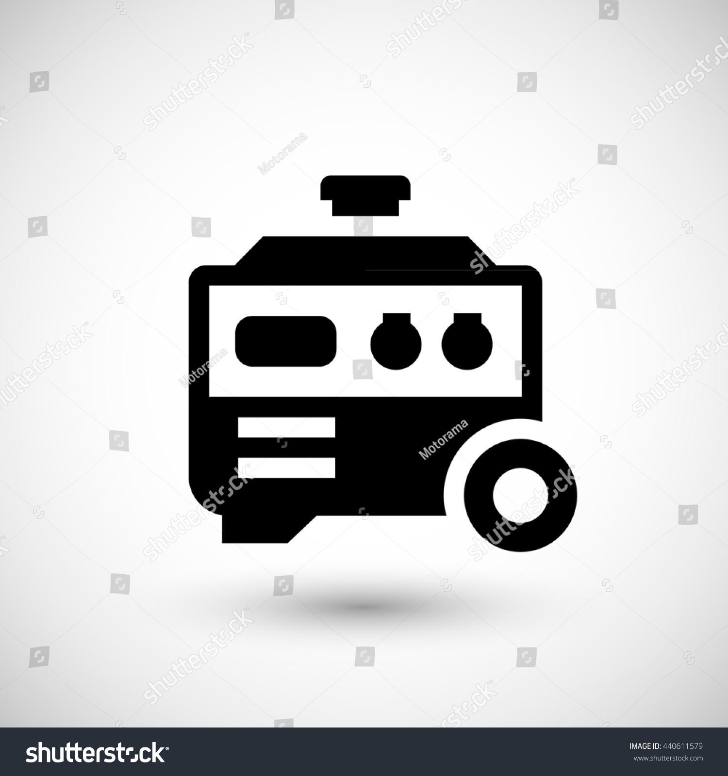 Electric Generator Icon Isolated Grey Stock Illustration