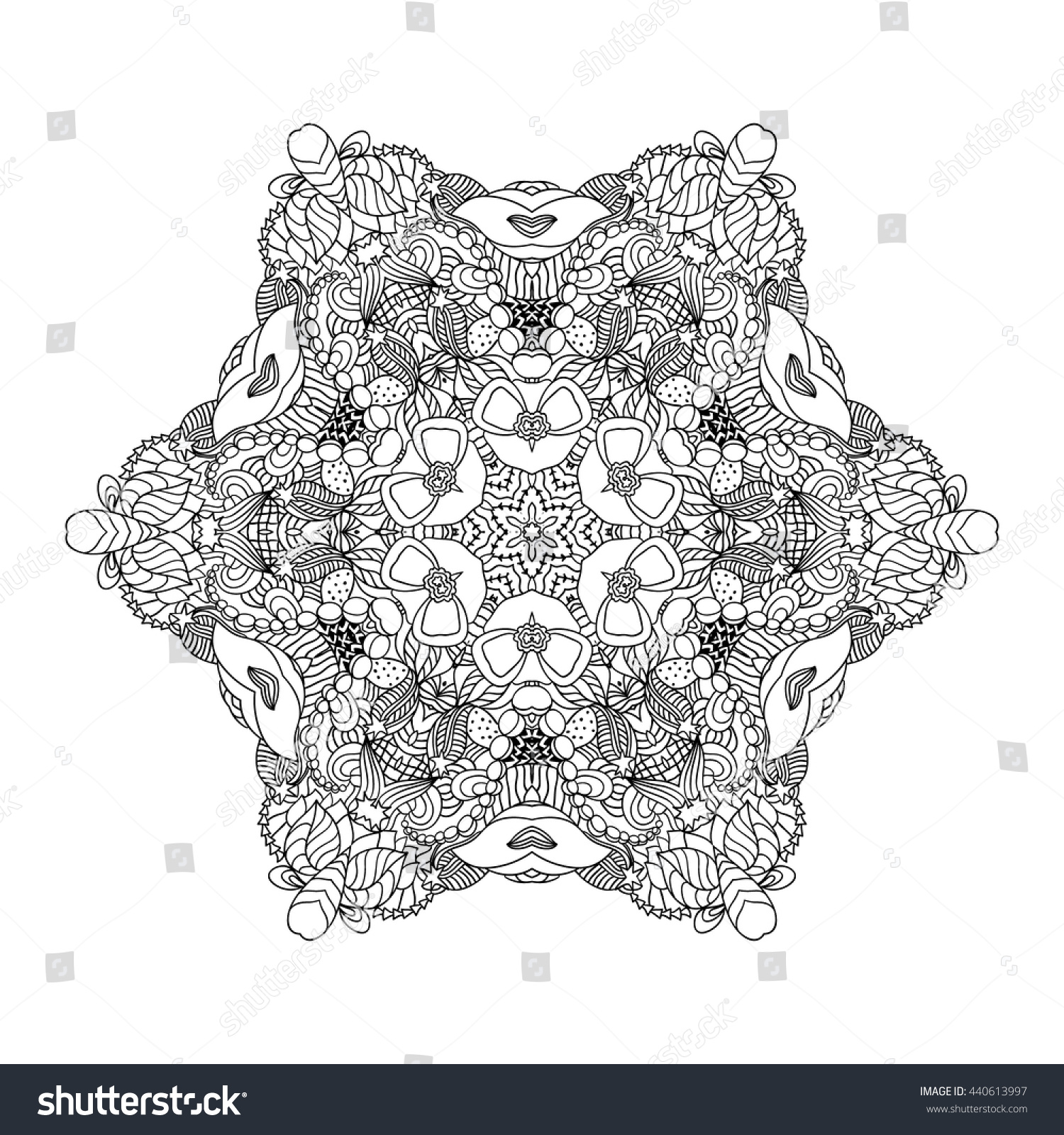 adult coloring page mandala vector for art coloring book zendoodle round zentangle - Line Art Coloring Pages