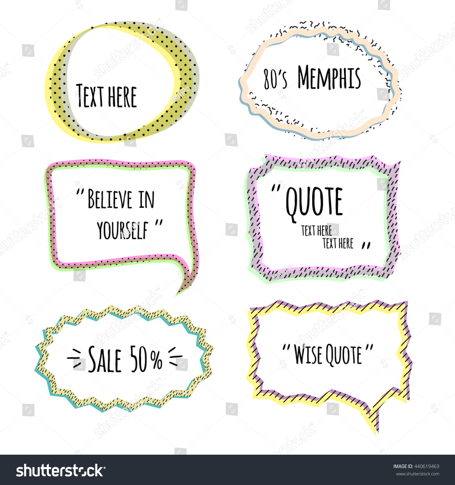set quote forms template speech bubble stock vector 440619463