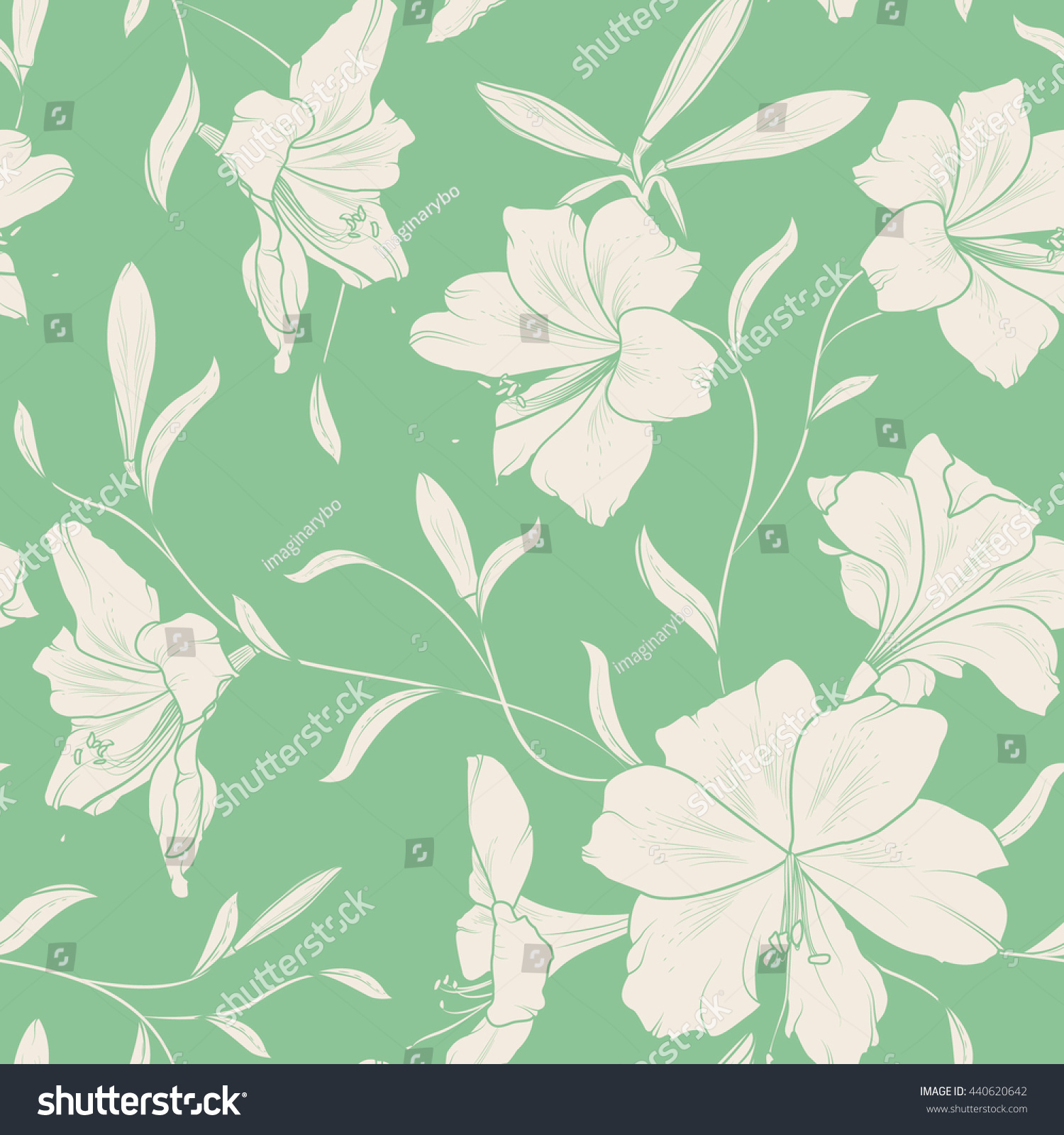 Seamless summer spring lily flower pattern stock vector royalty seamless summer spring lily flower pattern beige on green mint background vector illustration izmirmasajfo