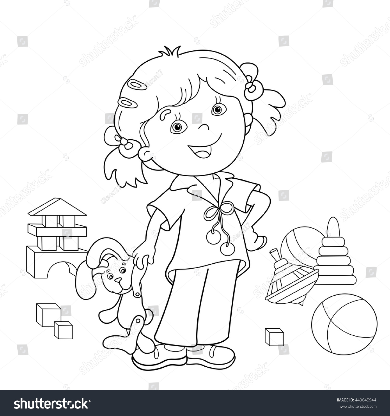 coloring page outline cartoon toys stock vector 440645944