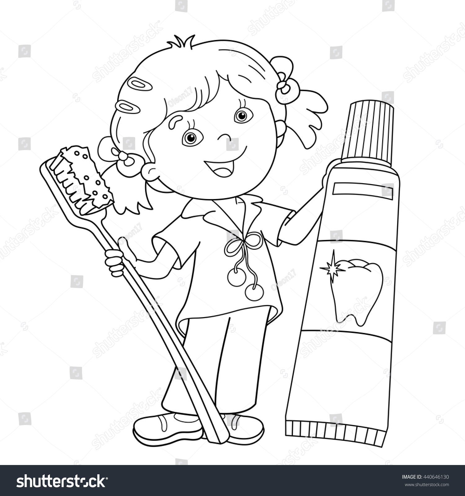 Coloring Page Outline Cartoon Girl Toothbrush Stock Vector ...