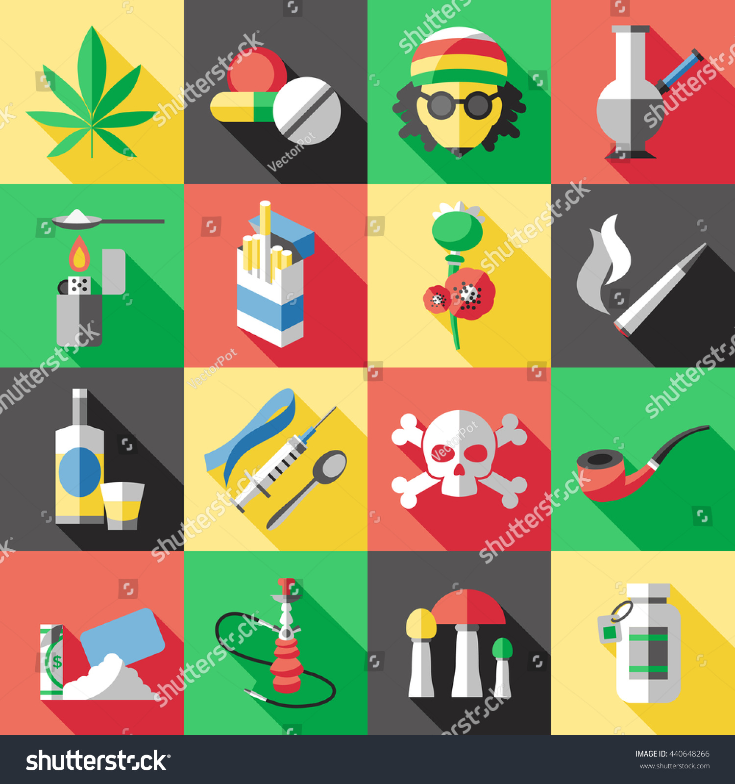 Sixteen Square Flat Drugs Icon Set Stock Vector 440648266 - Shutterstock