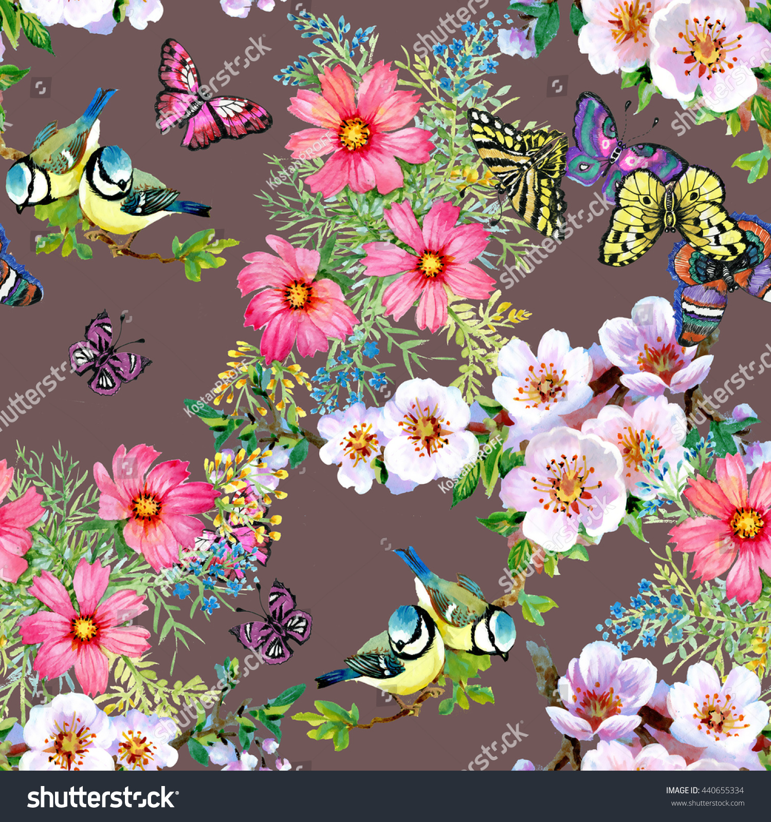 Branches Green Leaves Beautiful Flowers Cute Stock Illustration