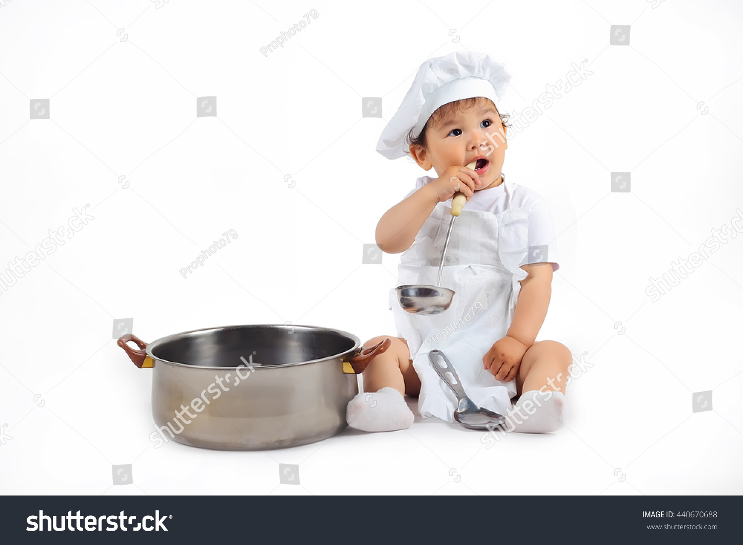 4ee66444823 Little Baby Chefs Hat Ladle Hand Stock Photo (Edit Now) 440670688 ...