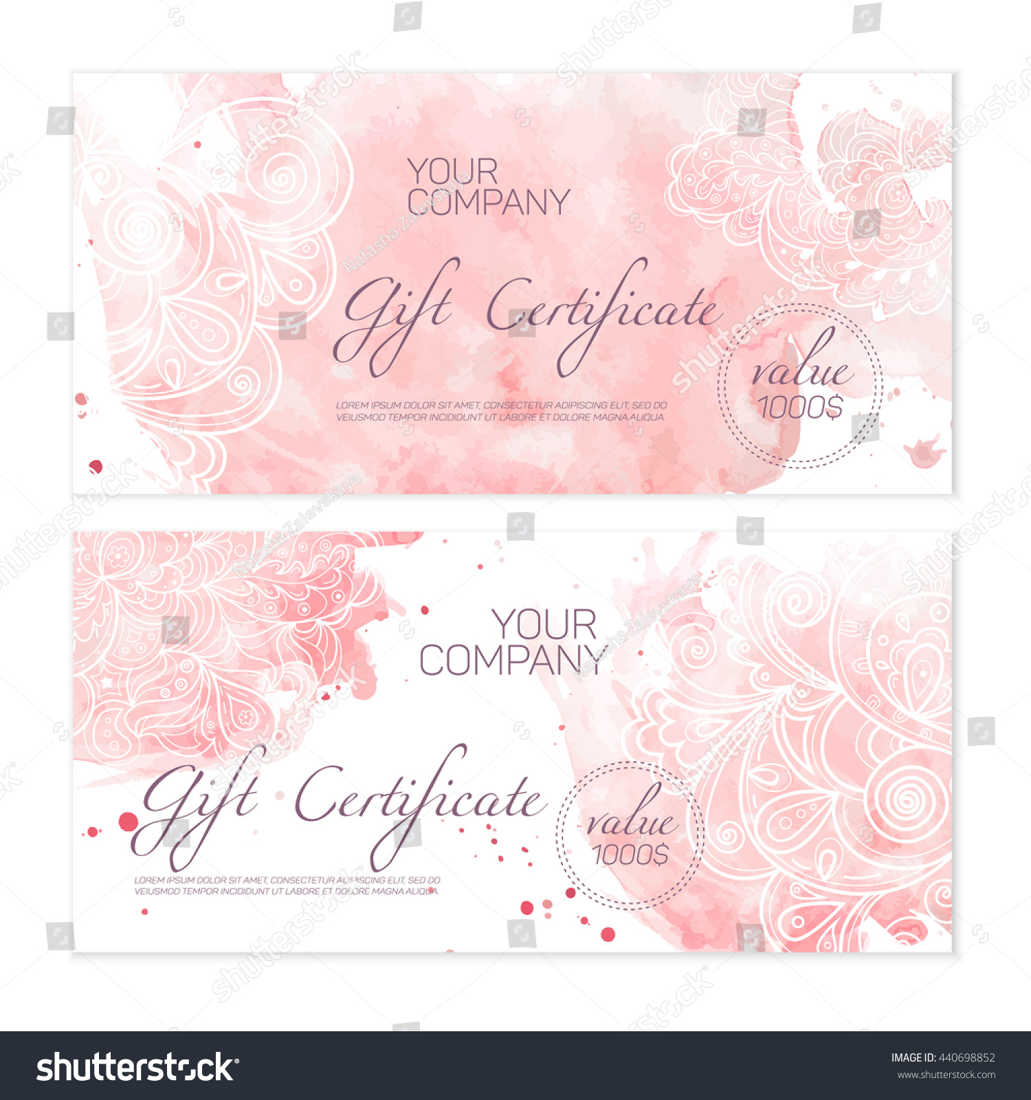 Beautiful green gift certificate templates nice stock vector beautiful green gift certificate templates with nice tropical ornament and watercolor background xflitez Gallery