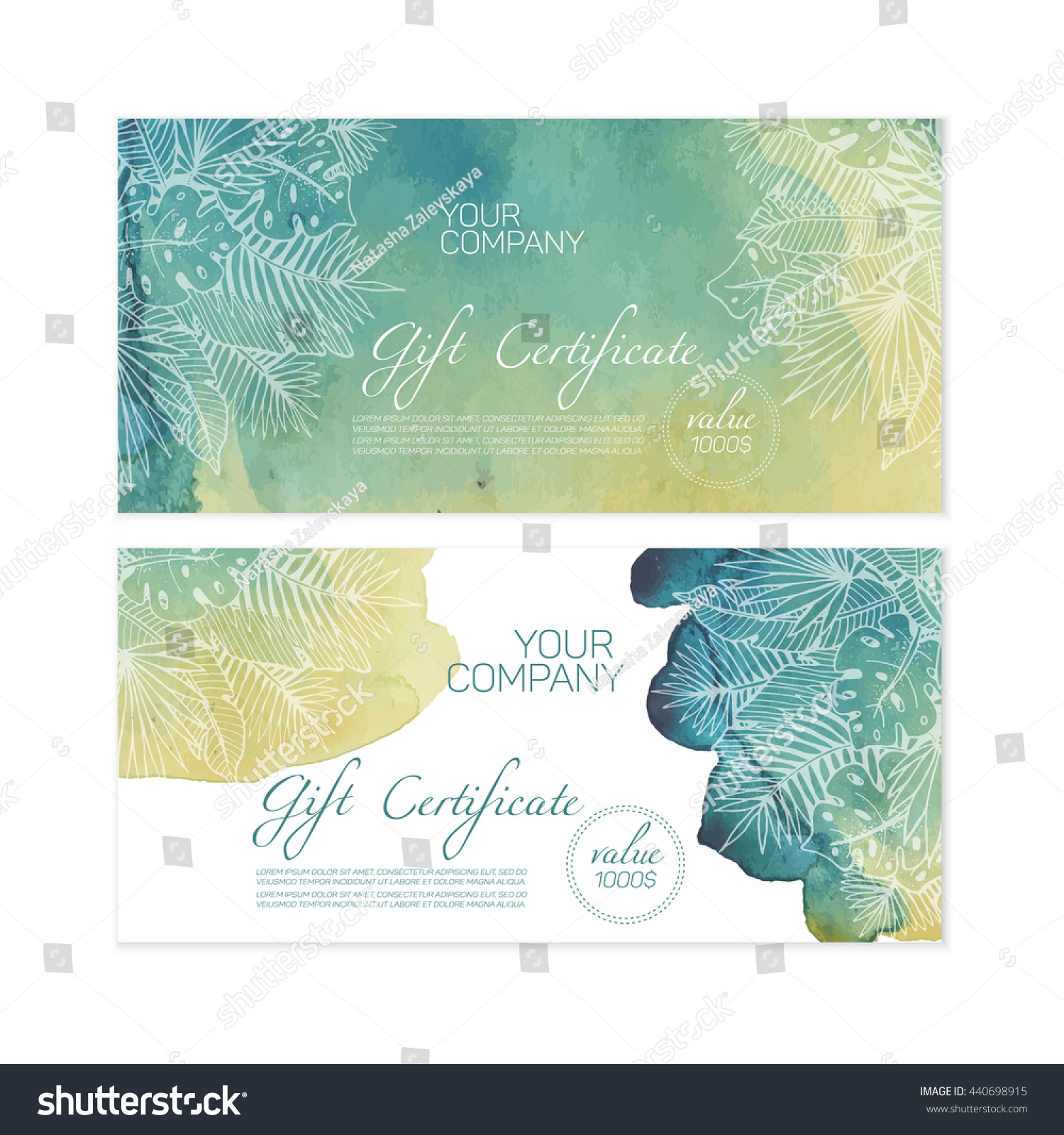 beautiful green gift certificate templates nice stock vector 440698915