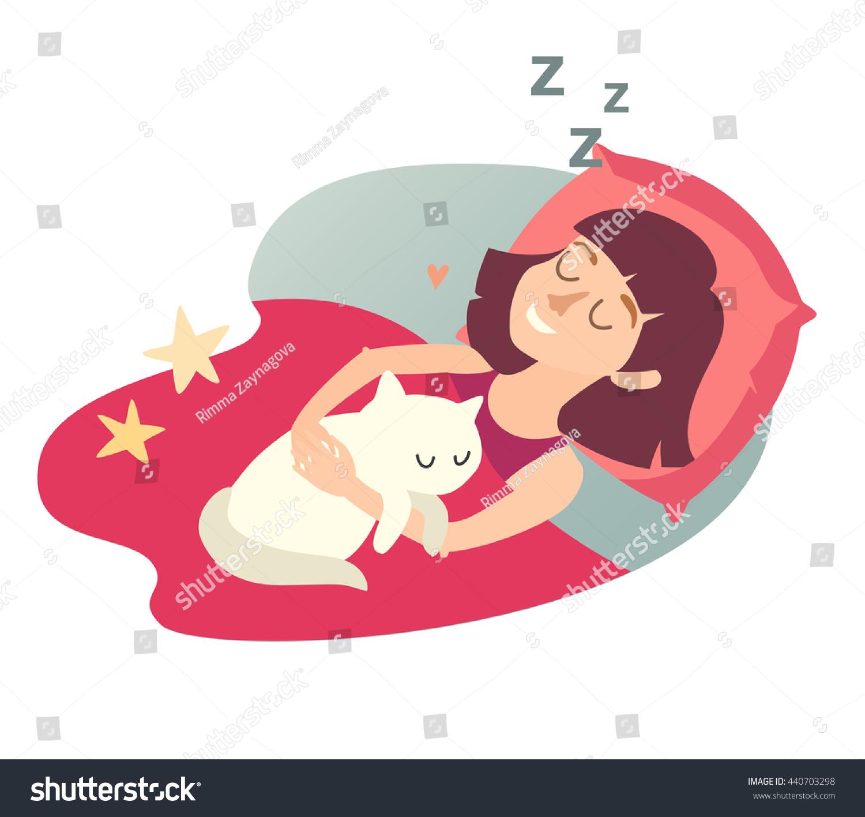 Sleeping girl with cat. Cartoon happy woman. Sweet dreams. Sleeping ...