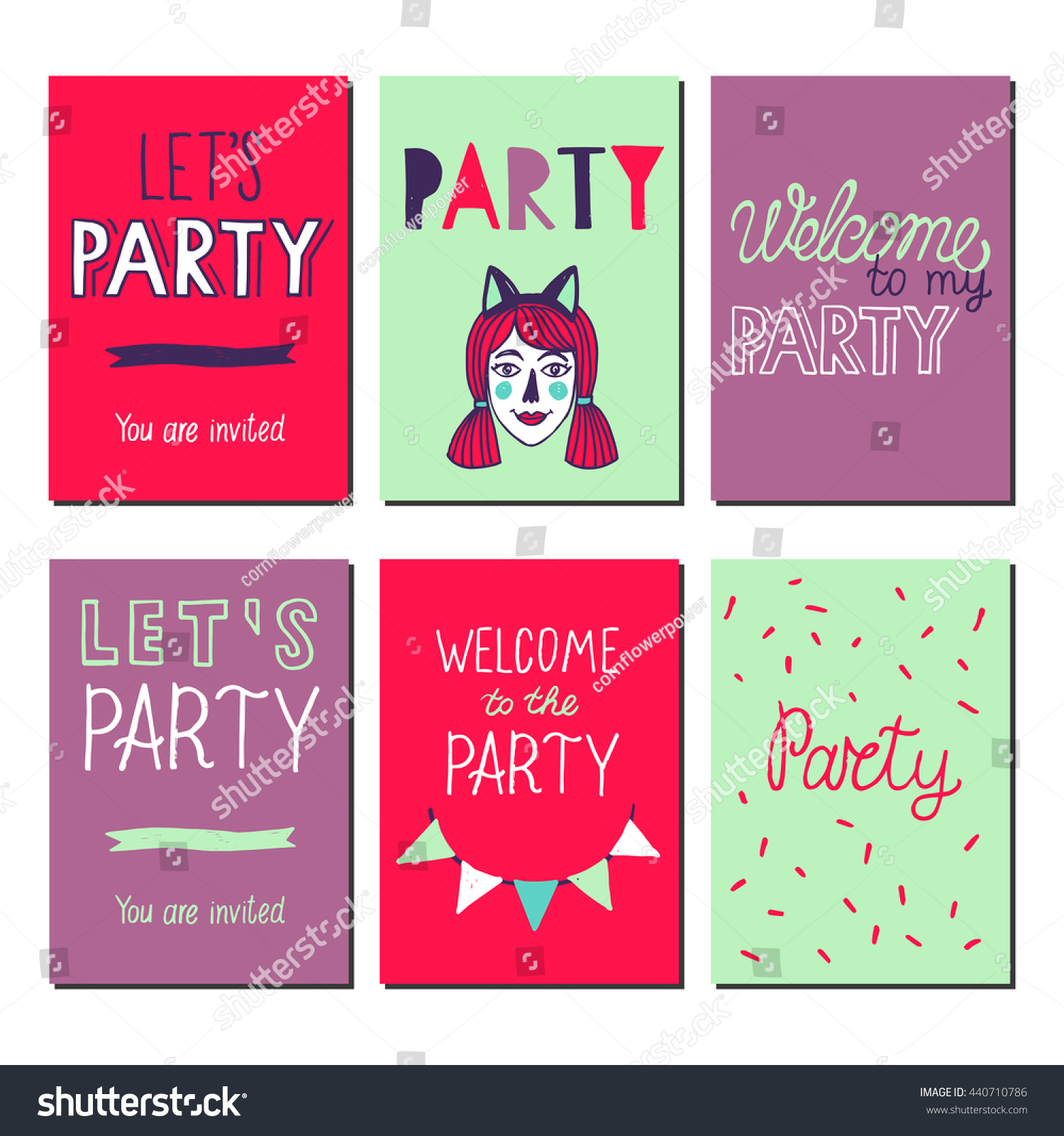 Set Hand Drawn Party Invitation Cards Stock Vector (Royalty Free ...